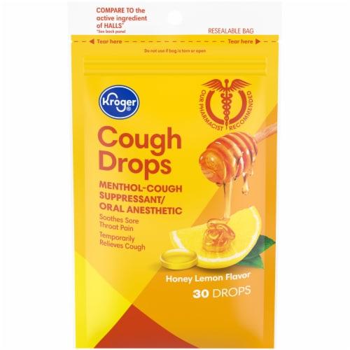 Kroger® Honey Lemon Flavor Cough Drops Perspective: front