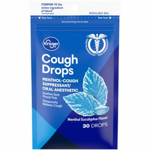 Kroger® Menthol Eucalyptus Flavor Cough Drops 30 Count Perspective: front