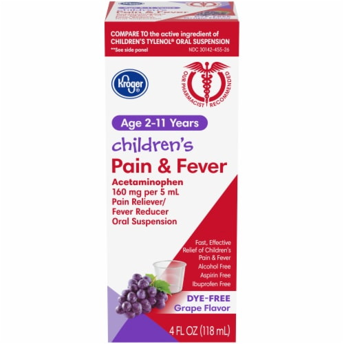 Kroger® Children's Pain & Fever Grape Flavor Liquid Perspective: front