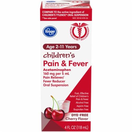 Kroger® Children's Cherry Flavor Pain & Fever Relief Liquid Perspective: front