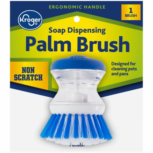 Kroger® Soap Dispensing Palm Brush - Blue/White Perspective: front