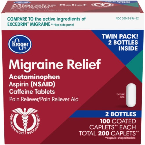 Kroger® Migraine Relief Pain Reliever Caplets Twin Pack Perspective: front