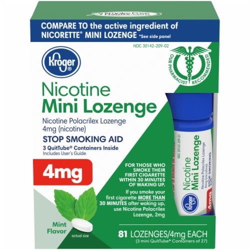 Kroger® Mint Mini Nicotine Lozenges 4mg 81 Count Perspective: front
