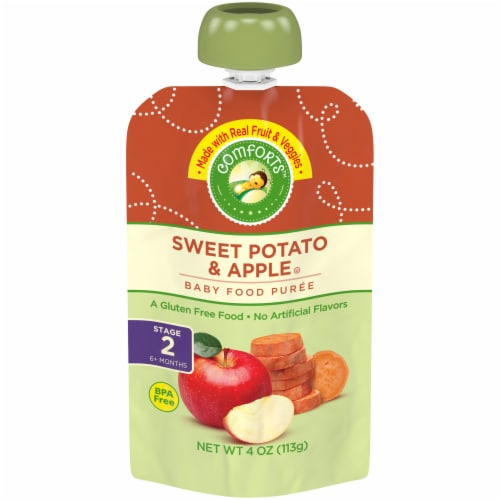 Comforts Sweet Potato & Apple Stage 2 Baby Food Puree Pouch Perspective: front