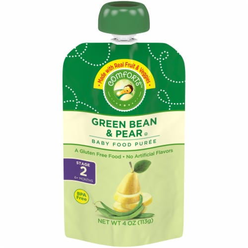 Comforts™ Green Bean & Pear Stage 2 Baby Food Puree Pouch Perspective: front