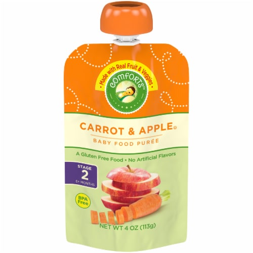 Comforts™ Carrot & Apple Stage 2 Baby Food Puree Pouch Perspective: front