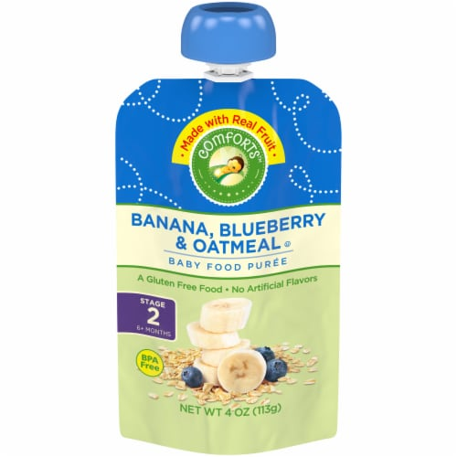 Comforts™ Banana Blueberry & Oatmeal Puree Stage 2 Baby Food Perspective: front