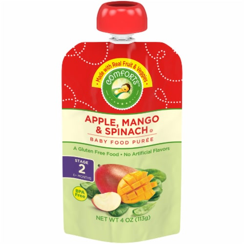 Comforts™ Apple Mango & Spinach Stage 2 Baby Food Puree Pouch Perspective: front