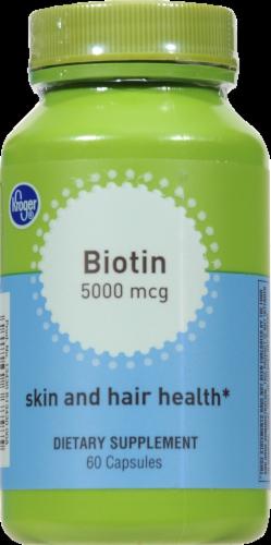 Kroger® Biotin Skin & Hair Health Capsules 5000mcg Perspective: front