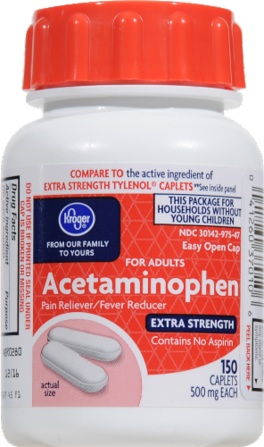 Kroger® Easy Open Extra Strength Acetaminophen Caplets 500mg Perspective: front
