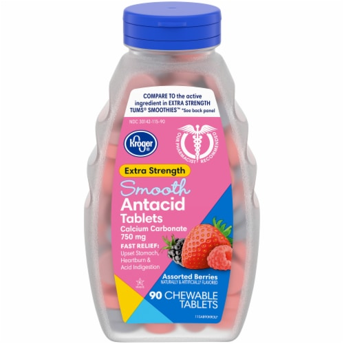 Kroger® Extra Strength Assorted Berry Flavor Smooth Antacid Chewable Tablets Perspective: front