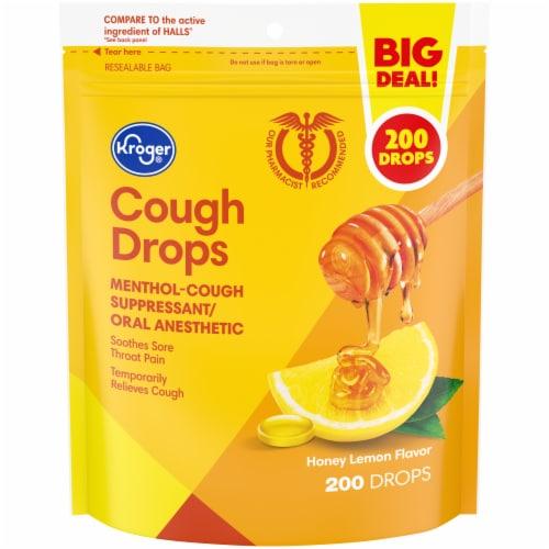 Kroger® Honey Lemon Cough Drops Perspective: front