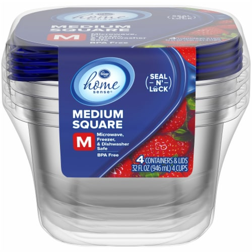 Kroger® Medium Square Food Containers with Lids - Clear/Blue Perspective: front