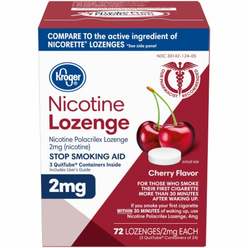 Kroger® Cherry Flavor Nicotine Lozenges 2mg Perspective: front