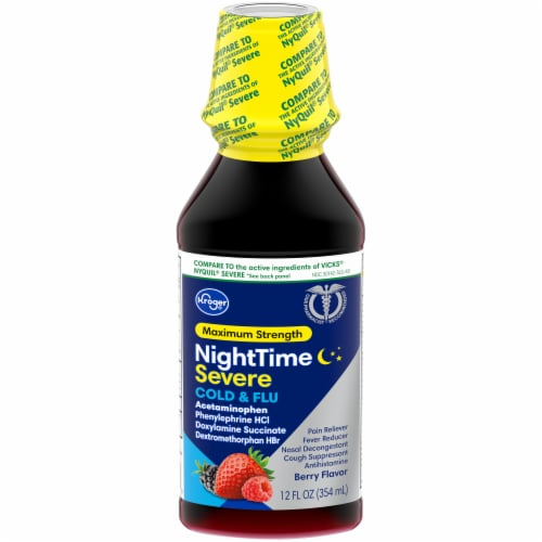 Kroger® Maximum Strength Berry Flavor Cold & Flu Liquid Perspective: front