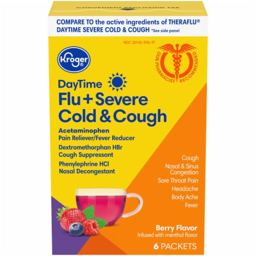 Kroger® Berry Flavor DayTime Flu + Severe Cold A& Cough Power Packets Perspective: front