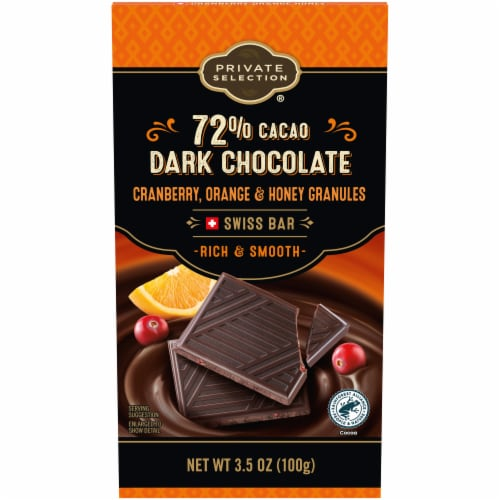 Private Selection™ 72% Cacao Cranberry Orange & Honey Dark Chocolate Swiss Bar Perspective: front