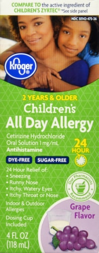 Kroger® Children's All Day Grape Flavor Allergy Relief Liquid Perspective: front