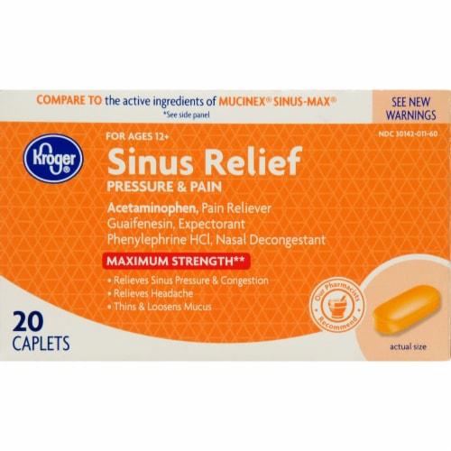 Kroger® Max Sinus Pressure & Pain Mucus Relief Caplets Perspective: front