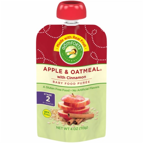 Comforts Apple & Oatmeal with Cinnamon Stage 2 Baby Food Perspective: front