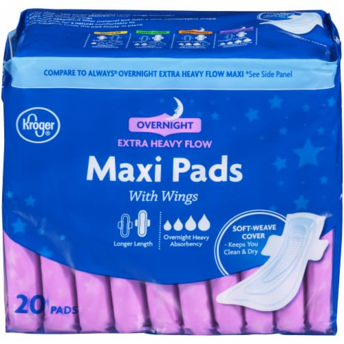 Kroger® Extra Heavy Flow Overnight Maxi Pads 20 Count Perspective: front
