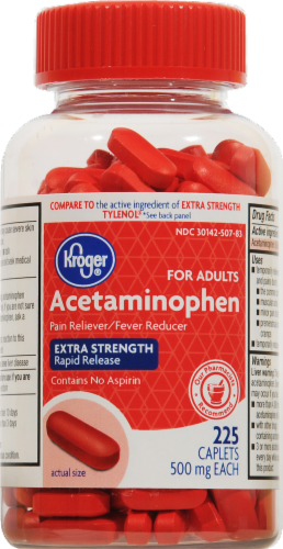 Kroger® Extra Strength Acetaminophen Rapid Release Caplets 500mg Perspective: front