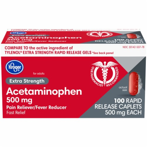 Kroger® Acetaminophen Extra Strength Rapid Release Caplets Box Perspective: front