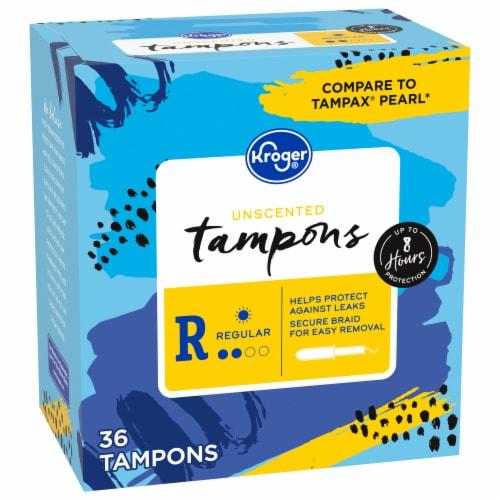 Kroger® Unscented Regular Plastic Tampons Perspective: front