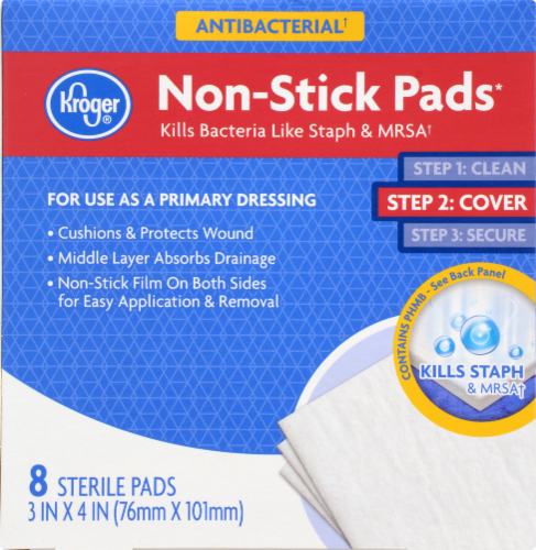 Kroger® Antibacterial Non-Stick Pads 8 Count Perspective: front
