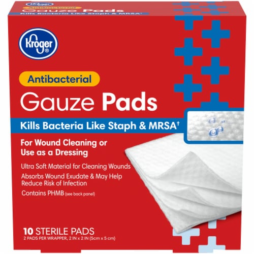 Kroger® Antibacterial 2 inch x 2 inch Gauze Pads Box Perspective: front