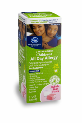 Kroger® Children's Sugar Free Bubble Gum Flavored Allergy Relief Liquid Perspective: front