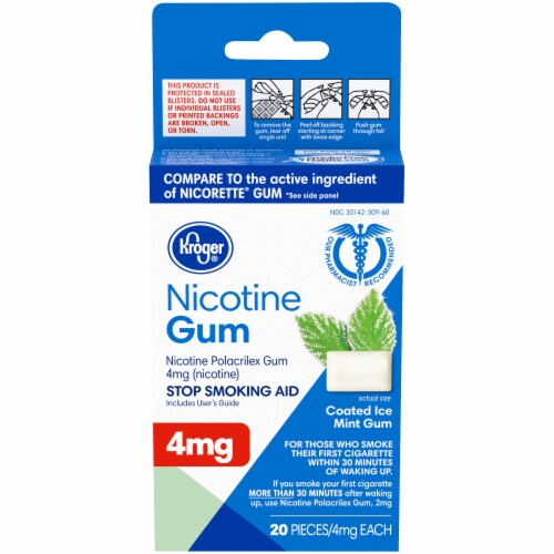 Kroger® Coated Ice Mint Nicotine Gum 4mg Perspective: front