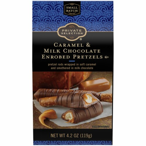 Private Selection® Caramel & Milk Chocolate Enrobed Pretzels Perspective: front
