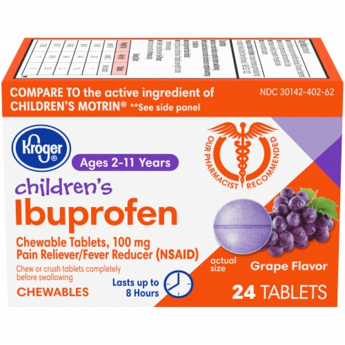 Kroger® Junior Strength Grape Ibuprofen Chewable Tablets Perspective: front