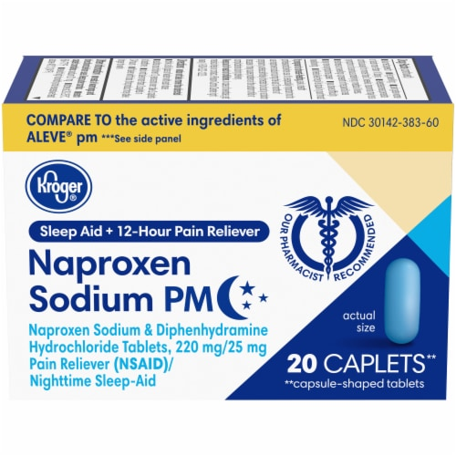 Kroger® Naproxen Sodium PM Pain Reliever Plus Sleep Aid Caplets Perspective: front