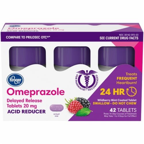 Kroger® Omeprazole Wild Berry Mint Acid Reducer Tablets 20mg Perspective: front