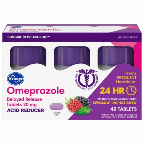 Kroger® Omeprazole Wild Berry Mint Acid Reducer Tablets 20mg Perspective: front
