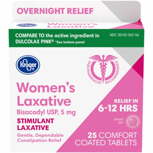 Kroger® Women's Stimulant Laxative Comfort Coated Tablets 5mg Perspective: front