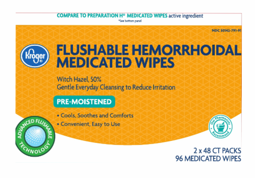 Kroger® Pre-Moistened Flushable Hemorrhoidal Medicated Wipes Perspective: front