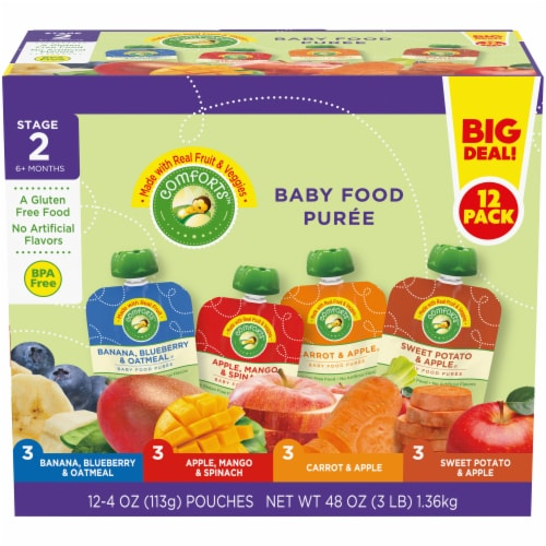 Comforts Stage 2 Baby Food Puree Pouches Variety Pack Perspective: front