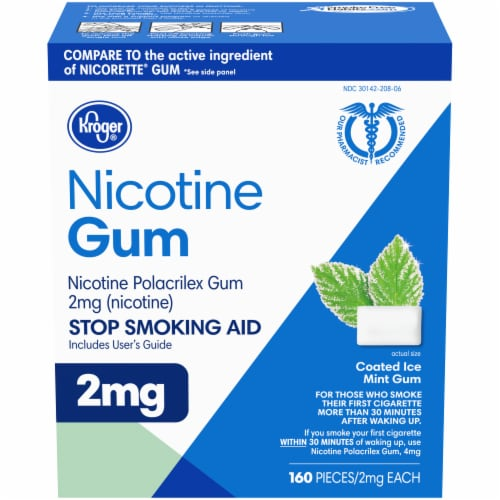 Kroger® Coated Ice Mint Nicotine Gum 2mg Perspective: front