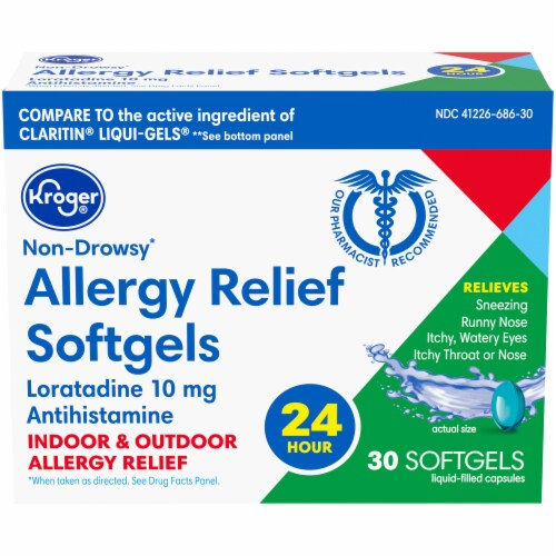 Kroger® Non-Drowsy 24 Hour Allergy Relief Softgels 10 mg Perspective: front