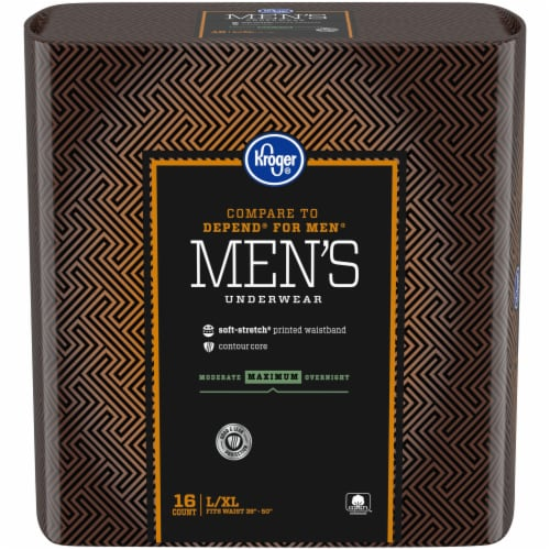 Kroger® L/XL Maximum Absorbency Underwear for Men Perspective: front