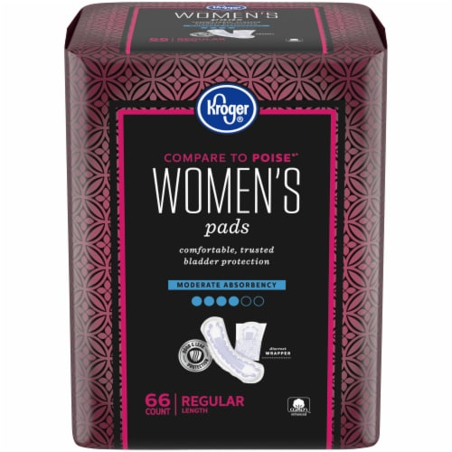 Kroger® Women's Regular Moderate Absorbency Pads 66 Count Perspective: front