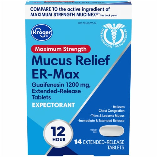 Kroger® Maximum Strength Mucus Relief ER Max Expectorant Tablets 1200mg Perspective: front