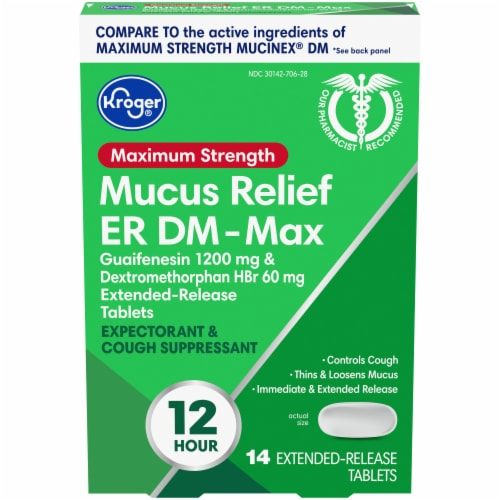 Kroger® Maximum Strength Mucus Relief ER DM-Max Extended Release Tablets Perspective: front