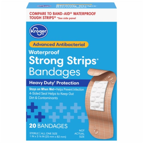 Kroger® Advanced Antibacterial Strong Strip Waterproof One Size Bandages Perspective: front