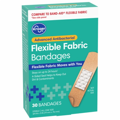 Kroger® Advanced Antibacterial 3/4 in x 3 in Fabric Bandages Perspective: front