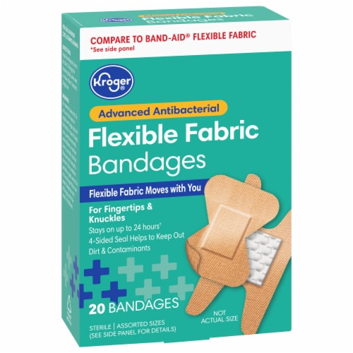 Kroger® Advanced Antibacterial Flexible Assorted Sizes Fabric Bandages Perspective: front