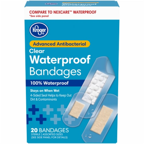 Kroger® Advanced Antibacterial Waterproof Bandages Assorted Sizes 20 ct Box Perspective: front